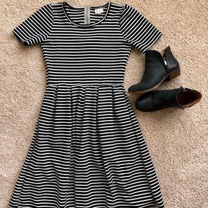 LuLaRoe Dresses - LuLaRoe Black and White Striped Amelia Dress
